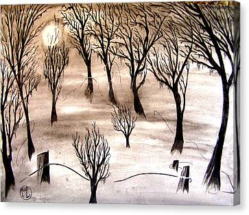 Canvas Print featuring the painting Moon Lit Fog by Justin Moore