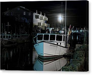 Canvas Print featuring the photograph Moon Lit Harbor by Richard Bean