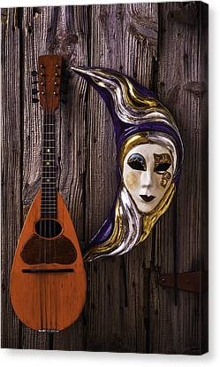 Moon Mask And Mandolin Canvas Print by Garry Gay