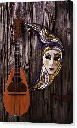 Moon Mask And Mandolin Canvas Print