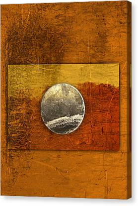 Moon On Gold Canvas Print by Carol Leigh
