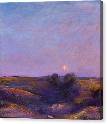 Moon On The Horizon Canvas Print by Helen Campbell