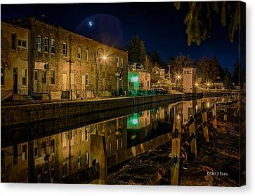 Moon Over Canal Canvas Print by Everet Regal