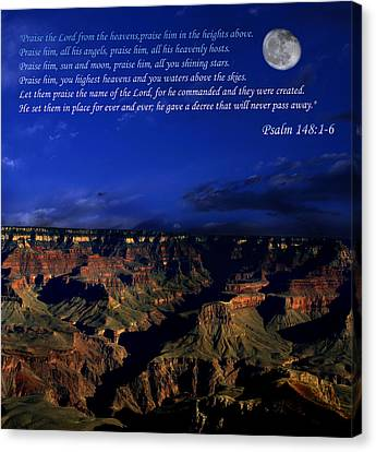 Moon Over Canyon With Psalm Canvas Print
