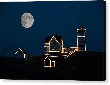 Moon Over Cape Neddick Canvas Print by Guy Whiteley