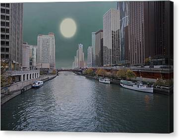 Moon Over Chicago River Canvas Print