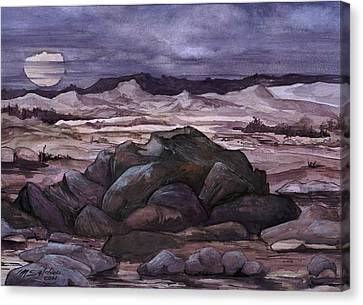 Canvas Print featuring the painting Moon Over Desert by Mikhail Savchenko