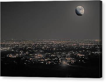 Moon Over Fort Collins Canvas Print by David Kehrli