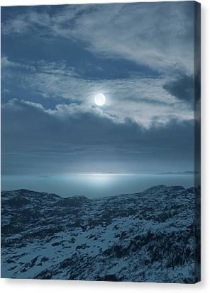 Snowy Night Night Canvas Print - Moon Over Frozen Landscape by Detlev Van Ravenswaay