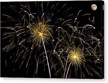 Moon Over Golden Starburst- July Fourth - Fireworks Canvas Print