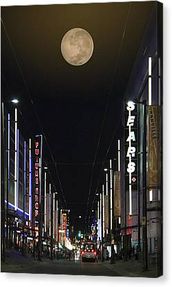 Moon Over Granville Street Canvas Print by Ben and Raisa Gertsberg