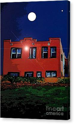Canvas Print featuring the digital art Moon Over La Cienega Exit  by Ecinja Art Works