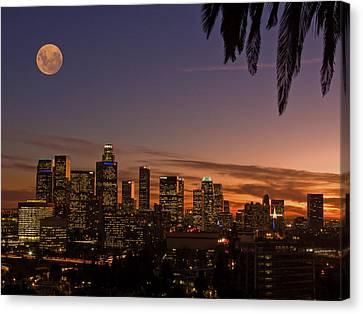 Moon Over L.a. Canvas Print