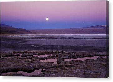 Canvas Print featuring the photograph Moon Over Laguna Colorada by Lana Enderle