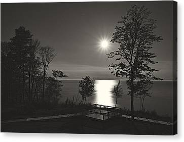 Moon Over Lake Michigan In  Black And White Canvas Print