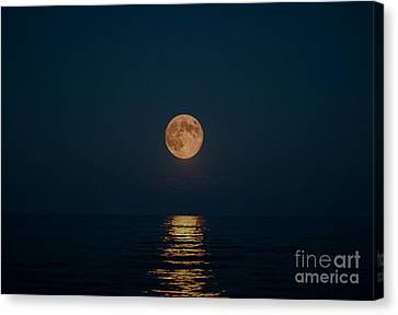 Moon Over Lake Of Shining Waters Canvas Print by Barbara McMahon
