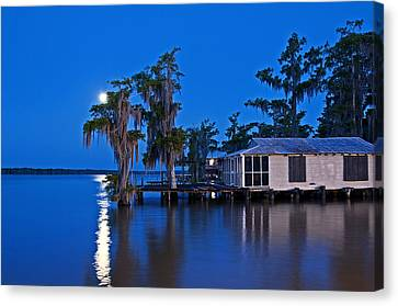 Canvas Print featuring the photograph Moon Over Lake Verret by Andy Crawford