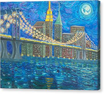 Moon Over Manhattan Canvas Print by Chris RoseS