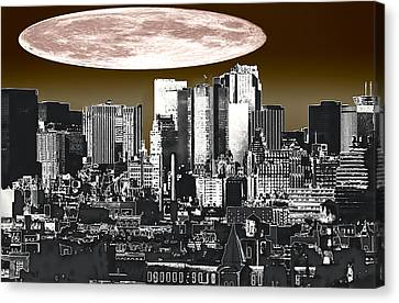 Moon Over Manhattan Canvas Print by Kellice Swaggerty