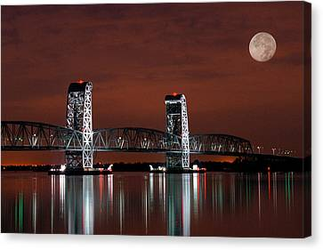 Moon Over Marine Parkway Bridge - Gil Hodges Memorial Bridge Canvas Print by Gary Heller