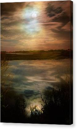 Moon Over Marsh - 35mm Film Canvas Print by Gary Heller