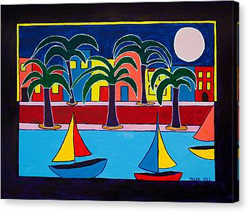 Moon Over Miami Canvas Print by Marlene MALKA Harris