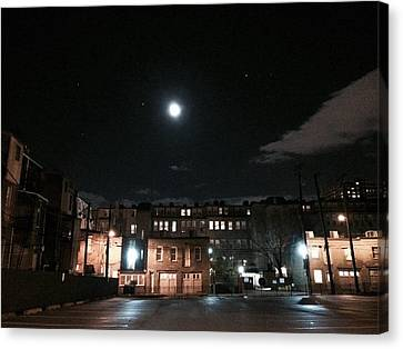 Canvas Print featuring the photograph Moon Over Midtown by Toni Martsoukos