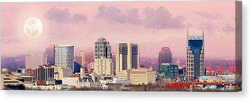Nashville Skyline Canvas Print - Moon Over Nashville by Amy Tyler