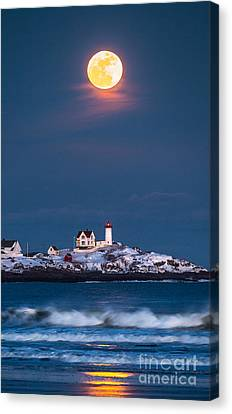 Moon Over Nubble Canvas Print by Benjamin Williamson