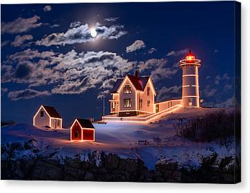 Moon Over Nubble Canvas Print by Michael Blanchette