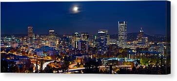 Moon Over Portland Oregon City Skyline At Blue Hour Canvas Print by Jit Lim