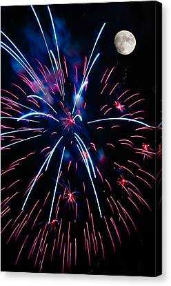 Moon Over Red White And Blue Starburst- July Fourth - Fireworks Canvas Print by Penny Lisowski