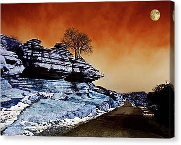 Moon Over Road Across El Torcal Canvas Print by Panoramic Images