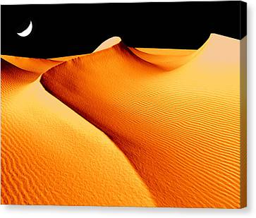 Moon Over Sand Dunes Canvas Print
