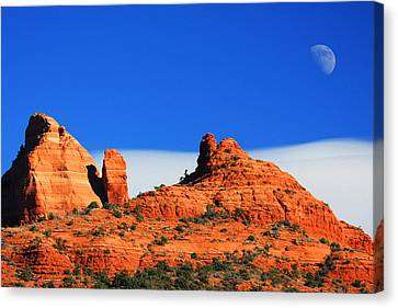 Canvas Print featuring the photograph Moon Over Sedona by Tom Kelly