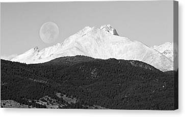 Moon Over Snow Covered Twin Peaks Bw Panorama Canvas Print