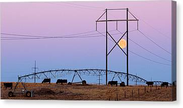 Canvas Print featuring the photograph Moon Over Sprinkler by Bill Kesler