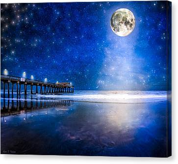 Lamp Post Canvas Print - Moon Over The Beach At Tybee Island by Mark E Tisdale