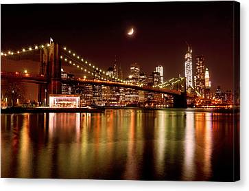 Moon Over The Brooklyn Bridge Canvas Print by Mitchell R Grosky