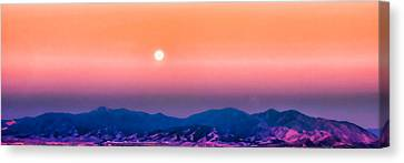 Moon Over The Oquirrh Mountains Canvas Print by Kayta Kobayashi
