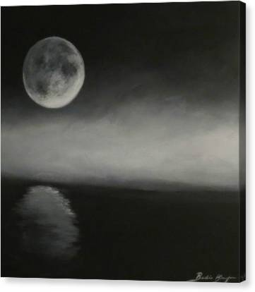Moon Over The Shores Canvas Print by Barbie Baughman