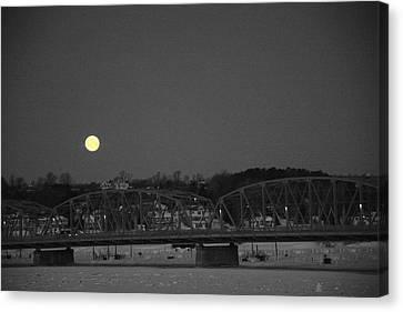 Moon Over The Steel Bridge Canvas Print