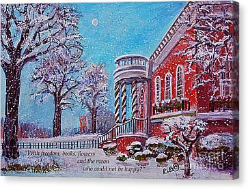 Public Holiday Canvas Print - Moon Over The Waltham Library by Rita Brown
