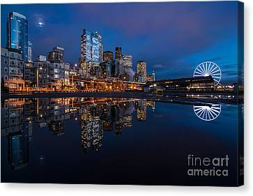 Moon Over The Waterfront Canvas Print by Mike Reid