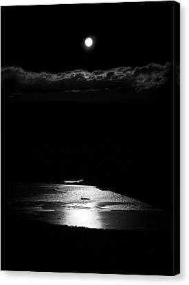 Moon Over Trout Creek Pond Canvas Print by Patrick Derickson