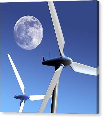Farm System Canvas Print - Moon Over Wind Turbines by Detlev Van Ravenswaay