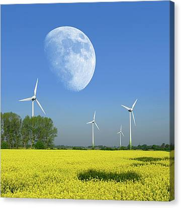 Farm System Canvas Print - Moon Over Wind Turbines In A Field by Detlev Van Ravenswaay