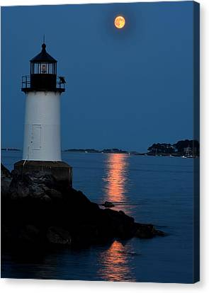 Moon Over Winter Island Salem Ma Canvas Print by Toby McGuire