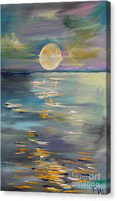 Moon Over Your Town/reflexion Canvas Print by PainterArtist FIN