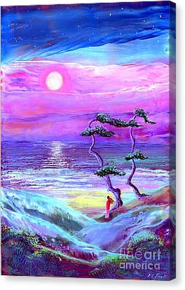Impressionism Canvas Print - Moon Pathway,seascape by Jane Small